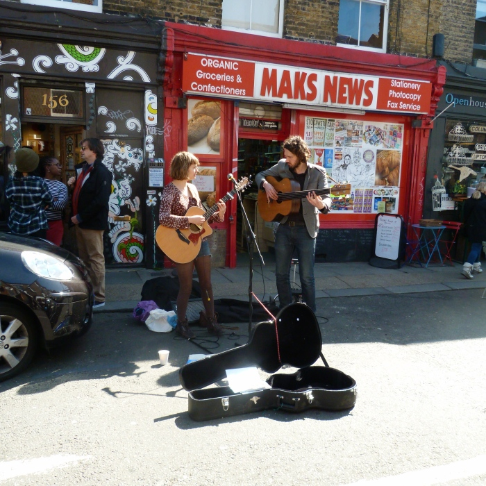 Couple Busking on Columbia Road