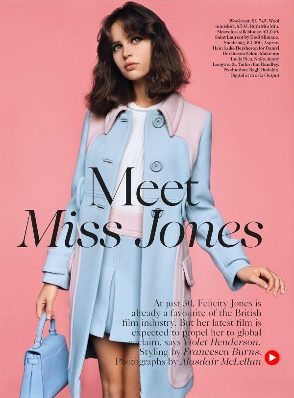 Felicity Jones Vogue UK 2014 Miu Miu